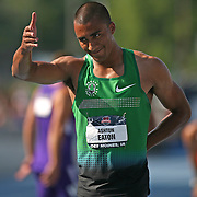 EATON - 13USA, Des Moines, Ia. - Ashton Eaton thanked the crowd after the final event of the decathlon, the 1500.   Photo by David Peterson
