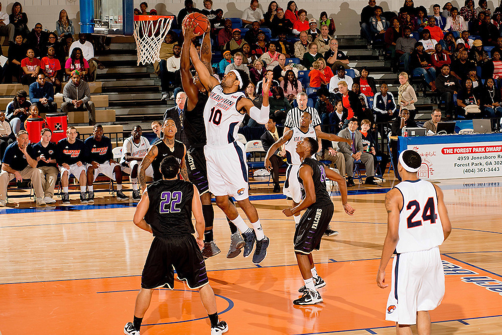 Feb. 09, 2013; Morrow, GA, USA; Clayton State men's basketball player Omari Murray against Montevallo at CSU. Photo by Kevin Liles/kdlphoto.com