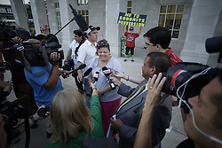 Nashia Fife with the Rowan County Right Coalition spoke with media before the clerk's office opened Wednesday. <br /> <br /> Rowan County Clerk Kim Davis did not return to work after being released from jail, Wednesday, Sept. 09, 2015 at Rowan County Courthouse in Morehead. <br /> <br /> Photo by Jonathan Palmer, Special to the CJ