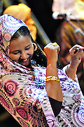 "Fadimata Walett Oumar, Tartit, dances during Nabil Othmani's concert at the ""III Rencontre Internationale d'Imzad"" in  Tamanrasset."