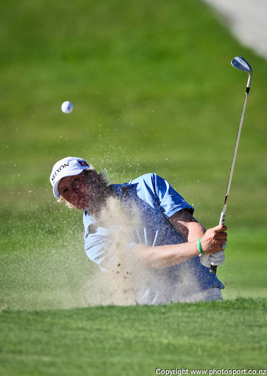 Vaughan McCall watches the flight of his shot in the New Zealand Stroke Play Championship, final day, Hastings Golf Course, New Zealand. Sunday 25 March 2012. Photo: John Cowpland / www.photosport.co.nz