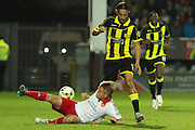 Sheffield United midfielder Louis Reed puts in a strong challenge for the ball on Burton Albion forward Abdenasser El Khayati during the Sky Bet League 1 match between Burton Albion and Sheffield Utd at the Pirelli Stadium, Burton upon Trent, England on 29 September 2015. Photo by Aaron Lupton.