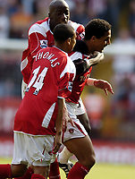 Photo: Olly Greenwood.<br />Charlton Athletic v Sheffield United. The Barclays Premiership. 21/04/2007. Charlton's Talal El Karkouri celebrates scoring with Jerome Thomas and Souleyman Diawara