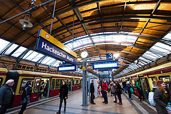 Platform and S-Bahn trains at Hackescher Markt railway station in Berlin Germany