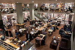 Interior of Costa Coffee inside Waterstones bookshop on Sauchiehall Street, Glasgow, UK