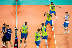 Gasparini Mita #6 (SLO), Stern Ziga #11 (SLO), Vincic Dejan #9, Urnaut Tine #17 (SLO), Pajenk Alen #2 (SLO), Kovacic Jani #13 (SLO) during volleyball match between National teams of Slovenia and Finland in 2nd Round in Group C of 2019 CEV Volleyball Men's European Championship in Ljubljana, on September 14, 2019 in Arena Stozice. Ljubljana, Slovenia. Photo by Grega Valancic / Sportida