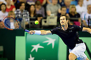 Andy Murray of Great Britain in action during the Davis Cup Semi Final between Great Britain and Argentina at the Emirates Arena, Glasgow, United Kingdom on 16 September 2016. Photo by Craig Doyle.