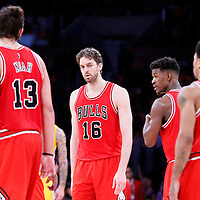 29 January 2015: Chicago Bulls forward Pau Gasol (16) looks at Chicago Bulls guard Derrick Rose (1) next to Chicago Bulls guard Jimmy Butler (21) and Chicago Bulls center Joakim Noah (13) during the Los Angeles Lakers 123-118 2OT victory over the Chicago Bulls, at the Staples Center, Los Angeles, California, USA.