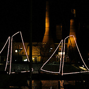 NLD/Huizen/20101130 - Verlichte botters in de Haven van Huizen