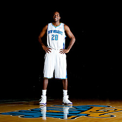 December 14, 2011; New Orleans, LA, USA; New Orleans Hornets guard Quincy Pondexter (20) poses for a photo during Media Day at the New Orleans Arena.   Mandatory Credit: Derick E. Hingle-US PRESSWIRE