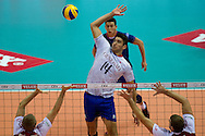 (C) Nicolas Le Goff from France in action during the 2013 CEV VELUX Volleyball European Championship match between Poland and France at Ergo Arena in Gdansk on September 21, 2013.<br /> <br /> Poland, Gdansk, September 21, 2013<br /> <br /> Picture also available in RAW (NEF) or TIFF format on special request.<br /> <br /> For editorial use only. Any commercial or promotional use requires permission.<br /> <br /> Mandatory credit:<br /> Photo by © Adam Nurkiewicz / Mediasport