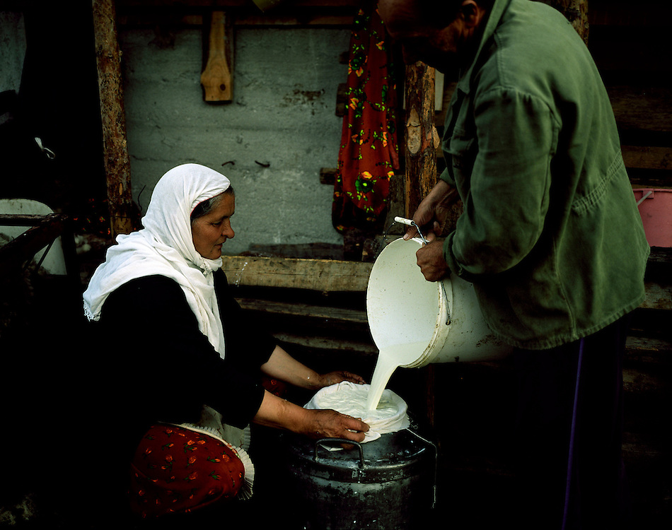 The shepherd Ibrahim and his wife Safe filter the milk they and their son have milked the sheep in the early morning - it will be used to make white cheese.