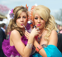 LIVERPOOL, ENGLAND - Friday, April 9, 2010: Jessica Johnson and Stacey Bethal from Huyton attend Ladies' Day during the second day of the Grand National Festival at Aintree Racecourse. (Pic by David Rawcliffe/Propaganda)