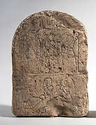 An Egyptian Limestone Stele 1st millennium BCE depicting Isis, Anubis and Ptah