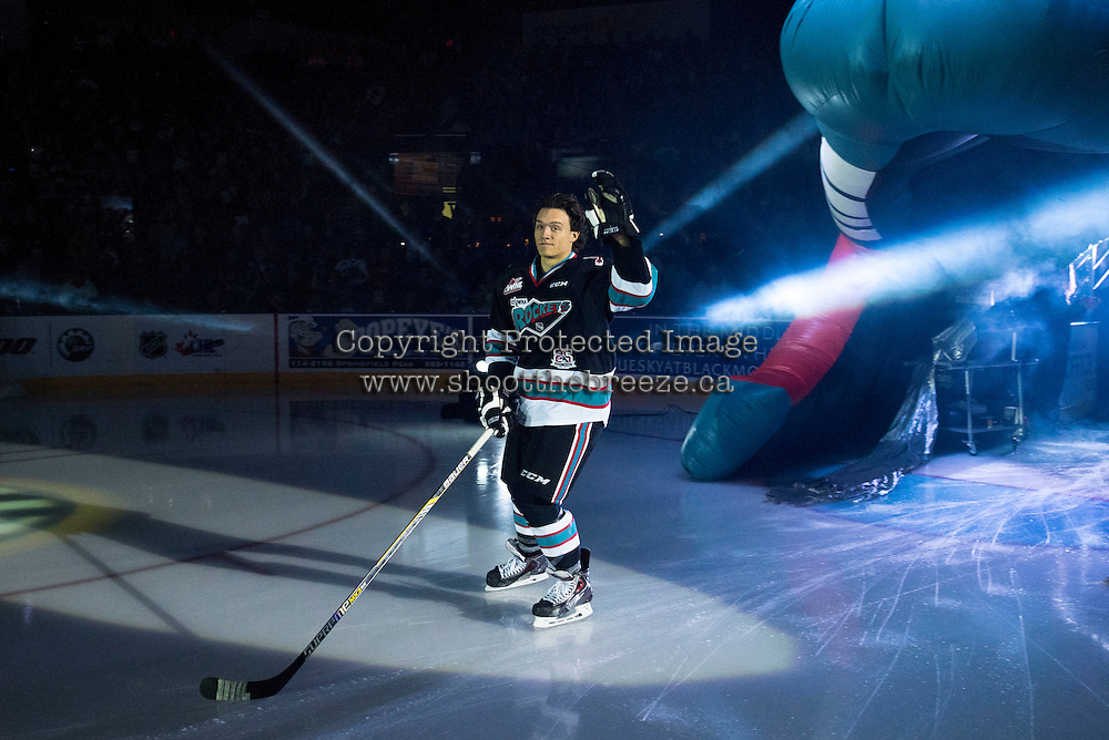 KELOWNA, CANADA - SEPTEMBER 25: Calvin Thurkauf #27 of Kelowna Rockets enters the ice during the season home opener against the Kamloops Blazers on September 25, 2015 at Prospera Place in Kelowna, British Columbia, Canada.  (Photo by Marissa Baecker/Shoot the Breeze)  *** Local Caption *** Calvin Thurkauf