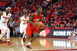 26 November 2016:  D'Angelo Hughes down the lane unempeded during an NCAA  mens basketball game between the Ferris State Bulldogs the Illinois State Redbirds in a non-conference game at Redbird Arena, Normal IL