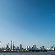 The modern skyscrapers of the skyline of the Punta Paitilla district of Panama City, Panama.