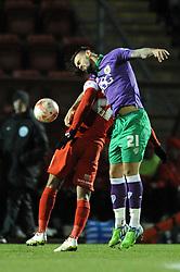Bristol City's Marlon Pack challenges for the header with Leyton Orient's Jay Simpson - Photo mandatory by-line: Dougie Allward/JMP - Mobile: 07966 386802 - 03/03/2015 - SPORT - football - Leyton - Brisbane Road - Leyton Orient v Bristol City - Sky Bet League One