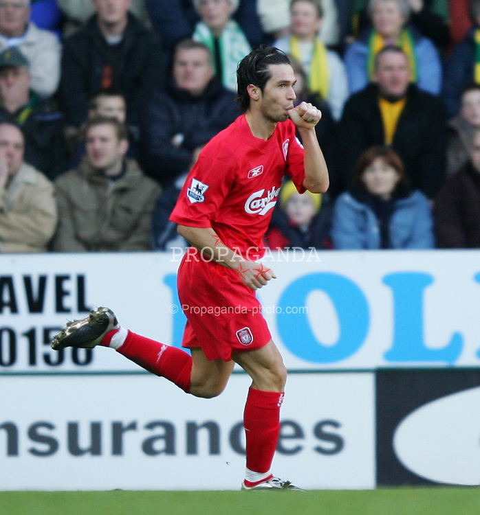 NORWICH, ENGLAND - MONDAY JANUARY 3rd 2005: Liverpool's Luis Garcia celebrates scoring the opening goal against Norwich City during the Premiership match at Carrow Road. (Pic by David Rawcliffe/Propaganda)