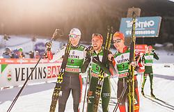 11.01.2019, Stadio del Salto, Lago di Tesero, ITA, FIS Weltcup Nordische Kombination, Langlauf, im Bild 2. Platz Joergen Graabak (NOR), Sieger Johannes Rydzek (GER), 3. Platz Mario Seidl (AUT) // 2nd placed Joergen Graabak of Norway Winner Johannes Rydzek of Germany 3rd placed Mario Seidl of Austria during Cross Country Competition of FIS Nordic Combined World Cup at the Stadio del Salto in Lago di Tesero, Italy on 2019/01/11. EXPA Pictures © 2019, PhotoCredit: EXPA/ JFK