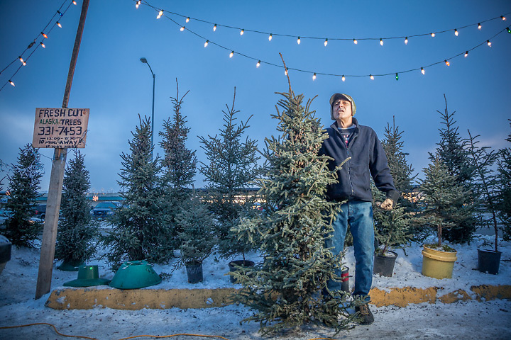 "Christmas tree salesman Bobby Sperb on Northern Lights Blvd. in Anchorage.  ""I was a merchant marine until 1991 and then I taught elementary school on the Kenai Peninnsula.  I was diagnosed with Parkensen desease in 1996 and now I work about two hours a week.  Having my photograph made…I feel like a celebrity.""  764-7168 or 331-7453"