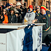 Beers fly across tables during qualifying rounds of the 2015 Gelande Quaff in Teton Village, Wyoming.