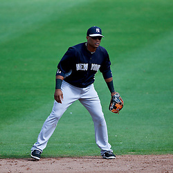 Feb 26, 2013; Clearwater, FL, USA; New York Yankees second baseman Robinson Cano (24) against the Philadelphia Phillies during a spring training game at Bright House Field. Mandatory Credit: Derick E. Hingle-USA TODAY Sports