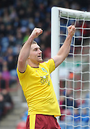 Sam Vokes of Burnley celebrates his goal during the Sky Bet Championship match at the John Smiths Stadium, Huddersfield<br /> Picture by Graham Crowther/Focus Images Ltd +44 7763 140036<br /> 12/03/2016