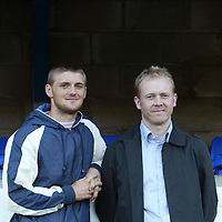 St Johnstone v Queen of the South...31.08.04 Bells Cup 2R<br />New St Johnstone signings Ryan McCann (left) and Alan Mahood<br /><br />Picture by Graeme Hart.<br />Copyright Perthshire Picture Agency<br />Tel: 01738 623350  Mobile: 07990 594431