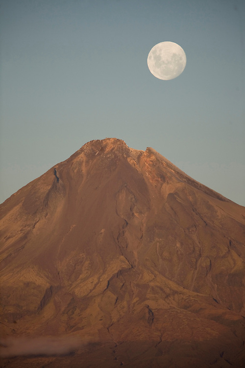 Perigee moon rises over Mt Taranaki, New Zealand, Saturday May 05, 2012. Credit SNPA / Jane Dove Juneau