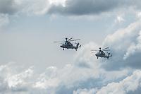 16 MAY 2014, BERLIN/GERMANY:<br /> Zwei Unterstuetzungshubschrauber Tiger der Bundeswehr, Internationale Luftfahrt Ausstellung, ILA, Flughafen Schoenefeld<br /> IMAGE: 20140516-01-013<br /> KEYWORDS: Hubschrauber, Kampfhubschrauber