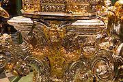 Close up of gold metalwork Catholic cathedral, former great mosque, Cordoba, Spain