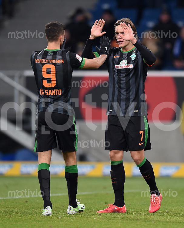 Fussball  1. Bundesliga  Saison 2014/2015  19. Spieltag in Sinzheim TSG 1899 Hoffenheim - SV Werder Bremen     04.02.2015 JUBEL SV Werder Bremen; Jannik Vestergaard (re) klatscht Franco Di Santo ab