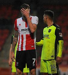 Harry Pell of Cheltenham Town cuts a dejected figure  - Mandatory by-line: Nizaam Jones/JMP- 10/12/2016 - FOOTBALL - LCI Rail Stadium - Cheltenham, England - Cheltenham Town v Exeter City - Sky Bet League Two