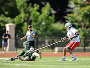 Billerica Memorial High School junior Jeffrey Trainor ties up a defender during the Division 1 North Championship game against Lincoln-Sudbury Regional High School at Connolly Memorial Stadium in Woburn, June 13, 2015. The Warriors beat the Indians, 12-8.   (Wicked Local Photo/James Jesson)