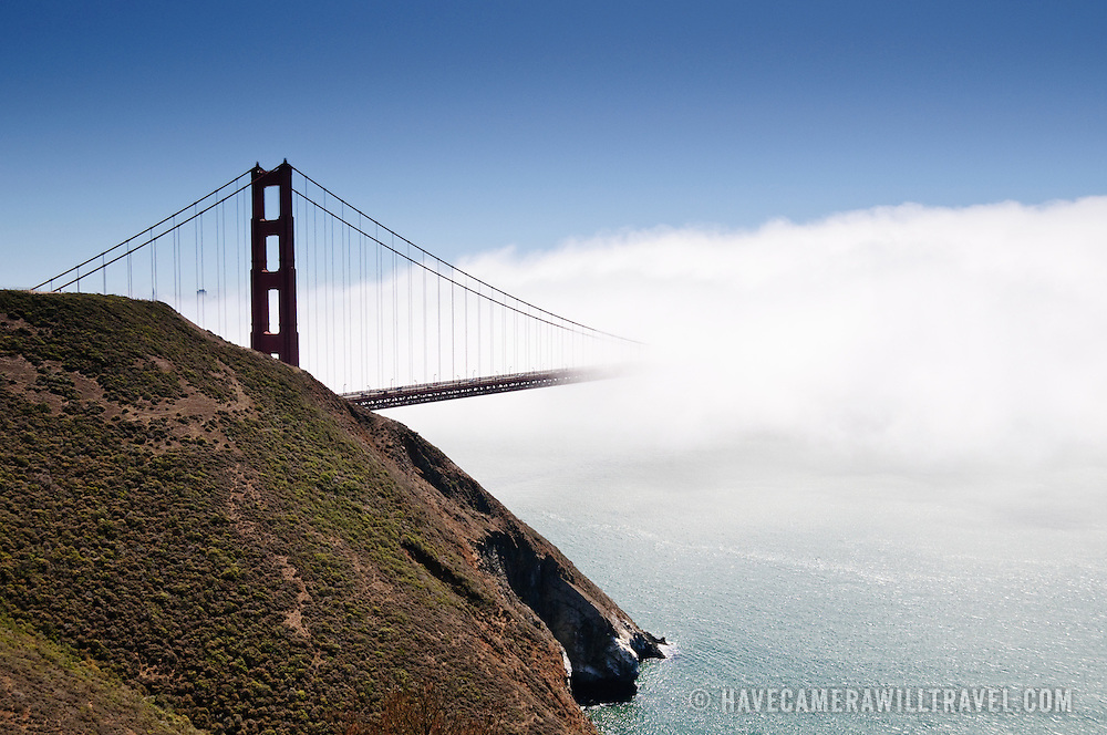 San Francisco's Golden Gate Bridge obscured by dense fog taken from Golden Gate Recreational Park