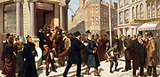 Title The war of wealth designed by Charles Dazey 1855-1938.  c1895.  (poster)  lithograph. Caption The run on the bank  a crisis in the affairs of the great financial institution. The most animated and realistic scene ever shown on the stage.