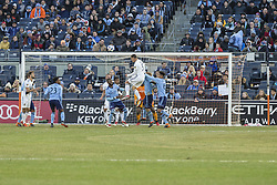 March 11, 2018 - New York, New York, United States - Daniel Steres (5) of LA Galaxy kicks ball during regular MLS game against NYC FC at Yankee stadium NYC FC won 2 - 1 (Credit Image: © Lev Radin/Pacific Press via ZUMA Wire)