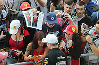 Nico Hulkenberg (GER) Sahara Force India F1 signs autographs for the fans.<br /> Italian Grand Prix, Thursday 4th September 2014. Monza Italy.
