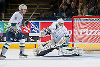 KELOWNA, CANADA - NOVEMBER 25: Logan Flodell #31 of Seattle Thunderbirds defends the net during second period against the Kelowna Rockets on November 25, 2015 at Prospera Place in Kelowna, British Columbia, Canada.  (Photo by Marissa Baecker/Getty Images)  *** Local Caption *** Logan Flodell;