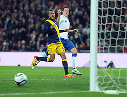 15.11.2011, Wembley Stadium, London, ENG, FSP, England (ENG) vs Schweden (SWE), im Bild England's Phil Jones looks on as his shot rolls agonizingly wide against Sweden // during the international friendlies football match between England (ENG) and Sweden (SWE) at Wembley Stadium, London, United Kingdom on 15/11/2011. EXPA Pictures © 2011, PhotoCredit: EXPA/ Sportida/ Chris Brunskill..***** ATTENTION - OUT OF ENG, GBR, UK *****