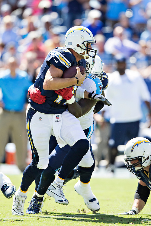 NASHVILLE, TN - SEPTEMBER 22:  Philip Rivers #17 of the San Diego Chargers is sacked by Akeem Ayers #56 of the Tennessee Titans at LP Field on September 22, 2013 in Nashville, Tennessee.  The Titans defeated the Chargers 20-17.  (Photo by Wesley Hitt/Getty Images) *** Local Caption *** Philip Rivers; Akeem Ayers