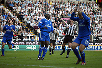 Photo. Andrew Unwin.<br /> Newcastle United v Chelsea, FA Barclaycard Premier League, St James Park, Newcastle upon Tyne 25/04/2004.<br /> Chelsea's Frank Lampard (l), Jimmy Floyd-Hasselbank (c) and Eidur Gudjohnsen (r) rue a missed opportunity.