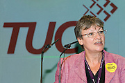 Christine Blower, NUT Deputy General Secretary, speaking at the TUC, Brighton 2007...© Martin Jenkinson, tel 0114 258 6808 mobile 07831 189363 email martin@pressphotos.co.uk. Copyright Designs & Patents Act 1988, moral rights asserted credit required. No part of this photo to be stored, reproduced, manipulated or transmitted to third parties by any means without prior written permission