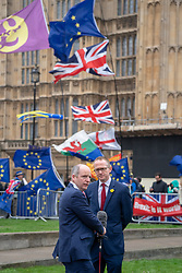 A politician being interviewed on College Green outside the UK Houses of Parliament in London ahead of the second so-called significant vote in House of Commons on Theresa May's revised EU Withdrawal (Brexit) Agreement. Photo date: Tuesday, March 12, 2019. Photo credit should read: Richard Gray/EMPICS