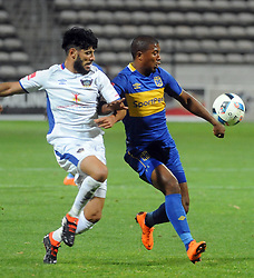 Cape Town 18-03-03 Cape Town City lyle Lakay attacking as Chippa player Fares Hachi defending  in the PSL Game In Athlone Staduim Pictures Ayanda Ndamane African news agency/ANA