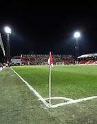 Griffin Park corner flag during the Sky Bet Championship match between Brentford and Burnley at Griffin Park, London, England on 15 January 2016. Photo by Matthew Redman.