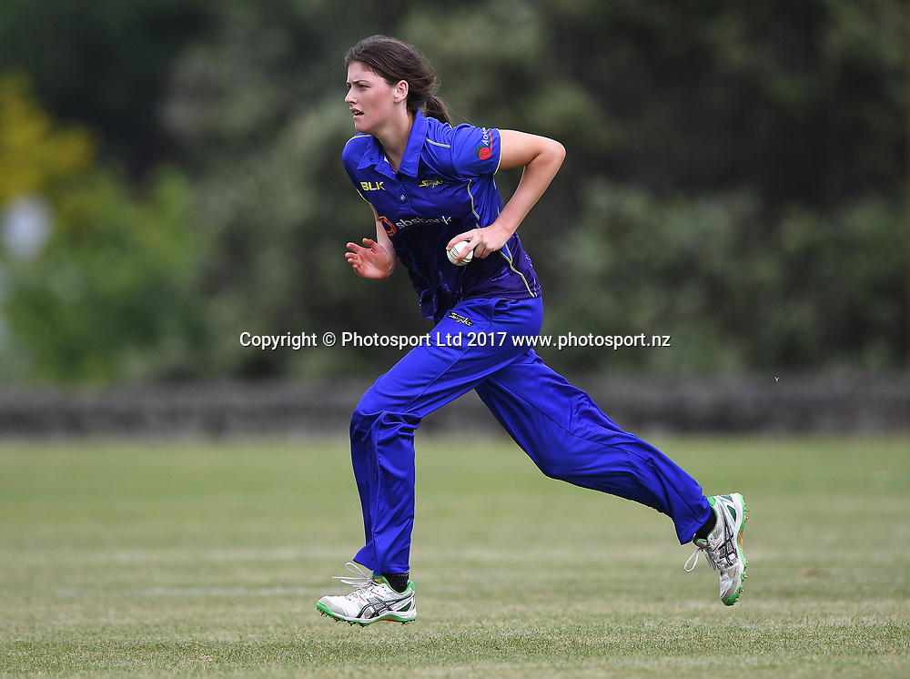 Otago's Kate Heffernan bowling.<br /> Women's Twenty20 Cricket, Auckland Hearts v Otago Sparks, Melville Park. Auckland, New Zealand. Friday 24 November 2017. &copy; Copyright photo: Andrew Cornaga / www.photosport.nz