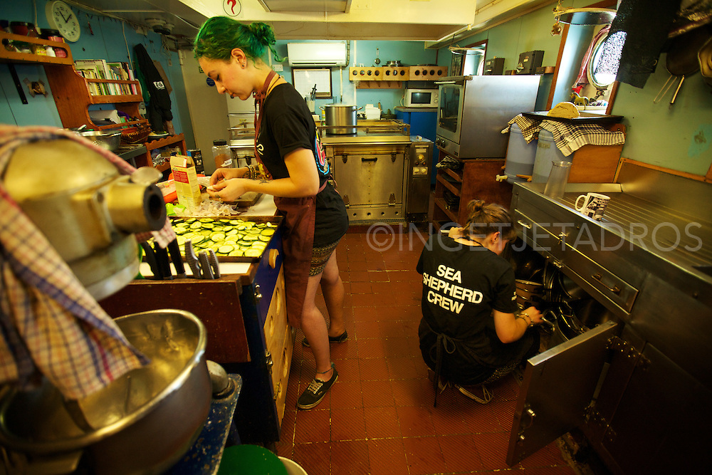 (L) Head chef Tamara Scoulidis and (R) Karlie Darlington busy preparing lunch in the kitchen of Seashepherd's 'Steve Irwin'. The girls are in charge of the vegan kitchen and make 3 meals a day for the 20 crew. During Operation Kimberley Miinimbi, they even managed to create lunch for 20 VIP's who came on board during the day, to watch the Whales at James Price Point.