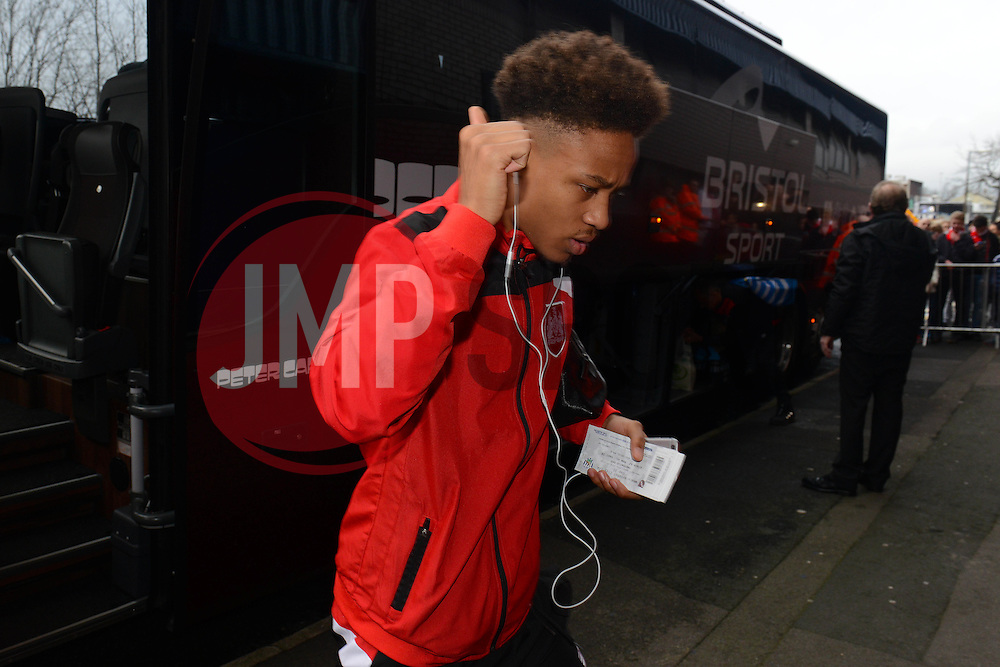 Bobby Reid of Bristol City arrives at The Hawthorns ahead of the FA Cup third round game between West Brom v Bristol City  - Mandatory byline: Dougie Allward/JMP - 09/01/2016 - FOOTBALL - The Hawthorns - Birmingham, England - West Brom v Bristol City - FA Cup Third Round